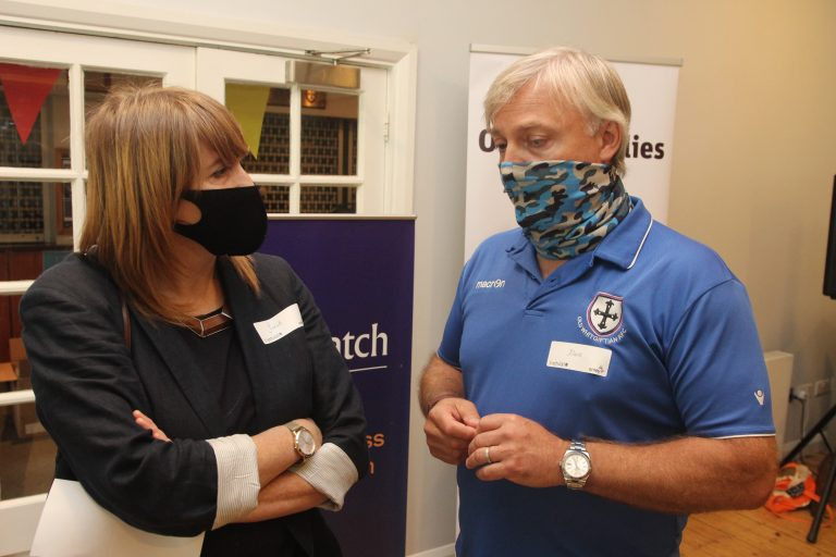 Sarah Jones, MP and Old Whitgiftian Chair Mark Endersby. Photo by Andrew Hamilton Thomas